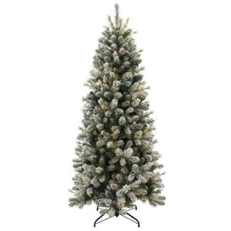 13. Puleo 7.5ft Slim Snowy Cone Pine Artificial Christmas Tree